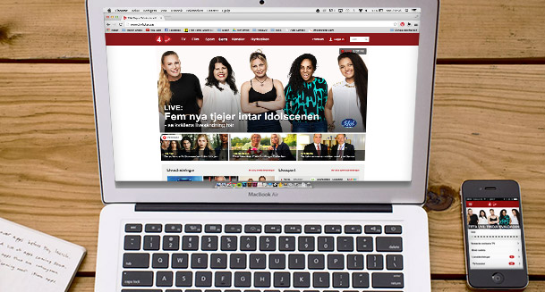 TV4 Play copy and content optimizing for digital channels and web tv